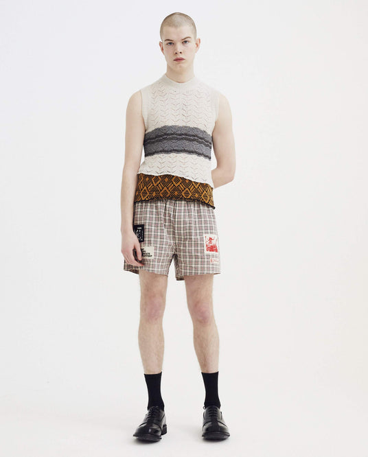 Sleeveless Striped Gilet With Star Print - Ecru MENS RAF SIMONS