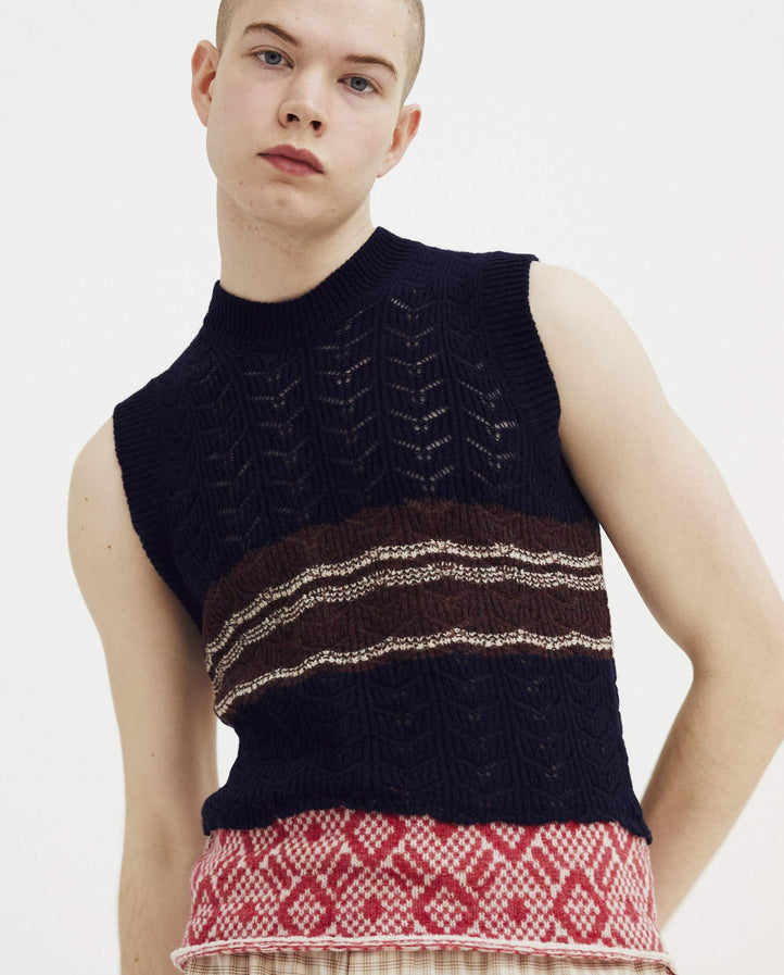 Sleeveless Striped Gilet With Star Print - Navy MENS RAF SIMONS