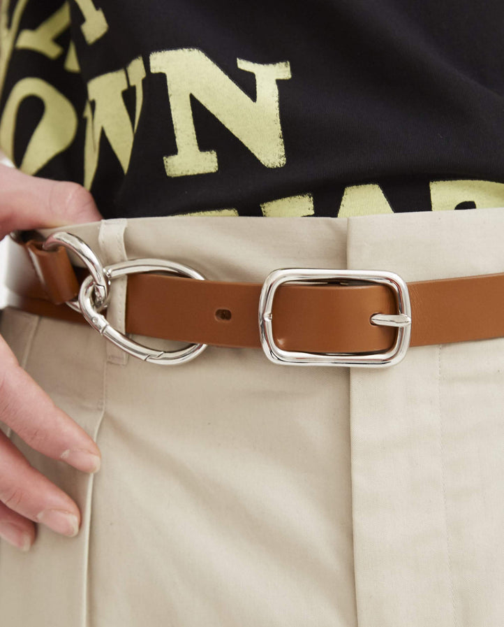 Slim Belt with Ring Detail - Brown UNISEX VENCZEL