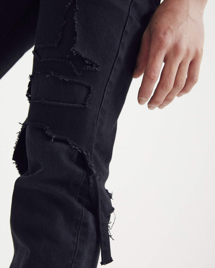 Slim Fit Double Destroyed Denim Pant - Black MENS RAF SIMONS