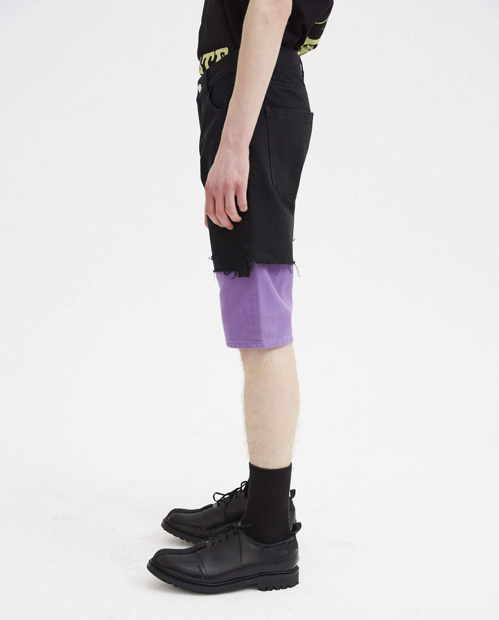 Slim Fit Double Destroyed Denim Short - Black MENS RAF SIMONS