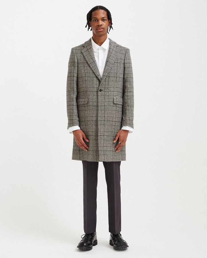 Slim Fit Single Breasted Coat - Black/Ecru MENS RAF SIMONS