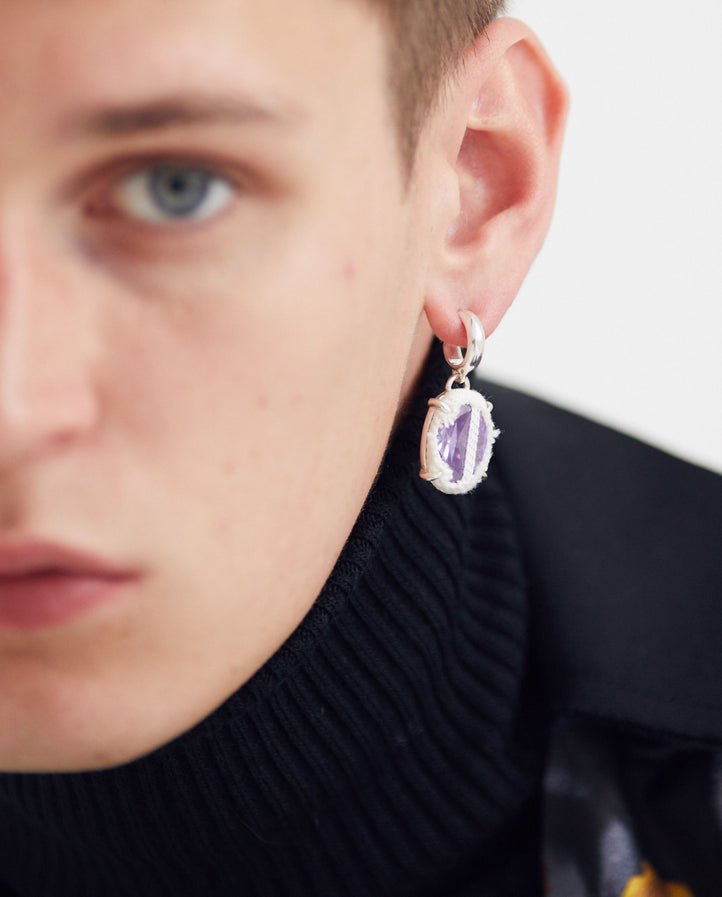 Small Hoop Oval Single Earring - White Denim/Purple Stone UNISEX SWEET LIME JUICE
