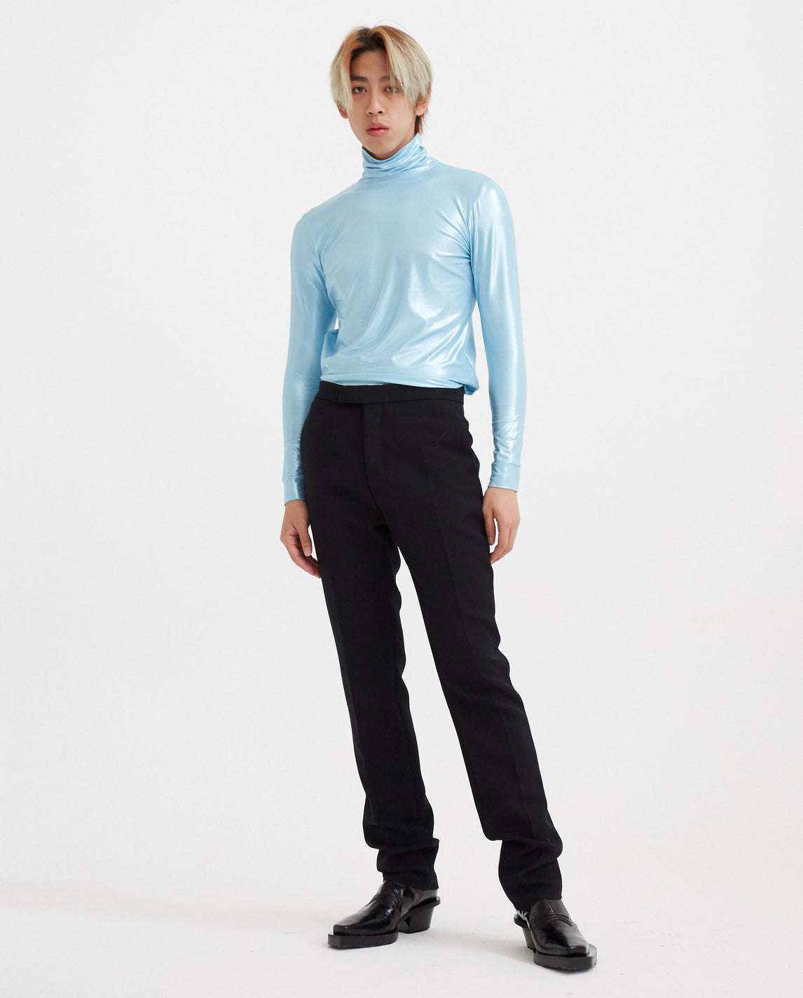 Sous Pull with Standing Collar - Blue MENS RAF SIMONS