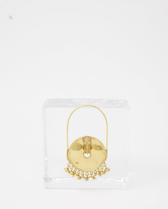 Sphere Pearl Hoop Earrings - Gold WOMENS PATOU