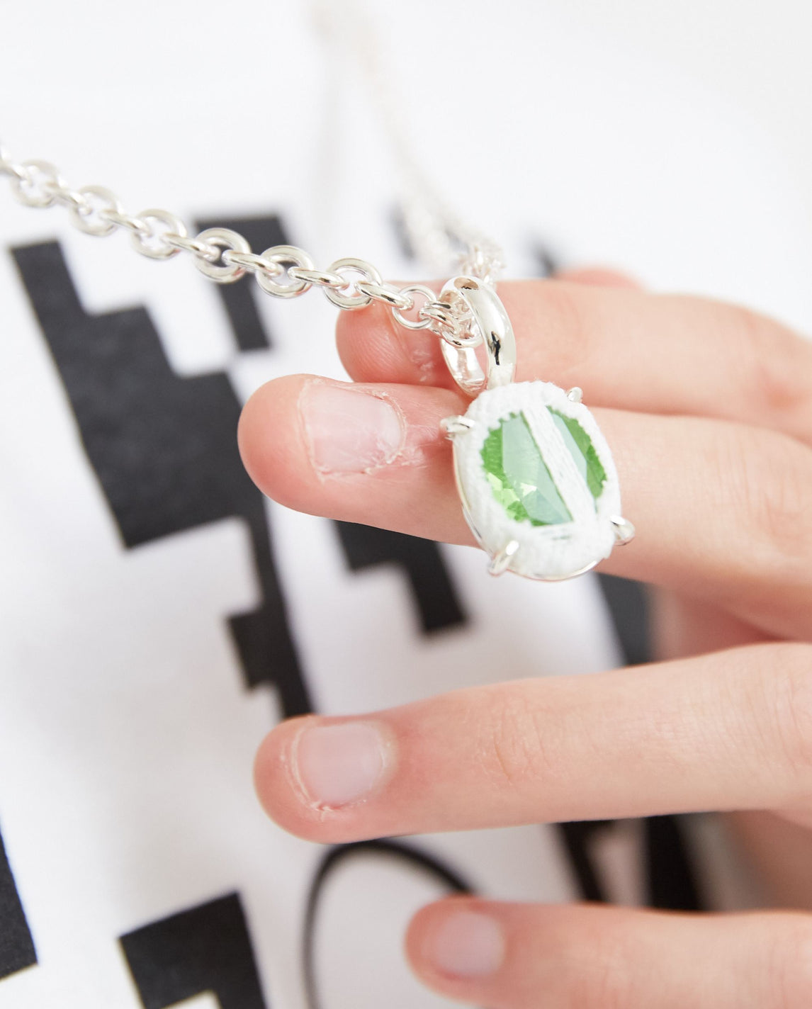Split Signet Ring Oval Necklace - White Denim/Green Stone MENS SWEET LIME JUICE