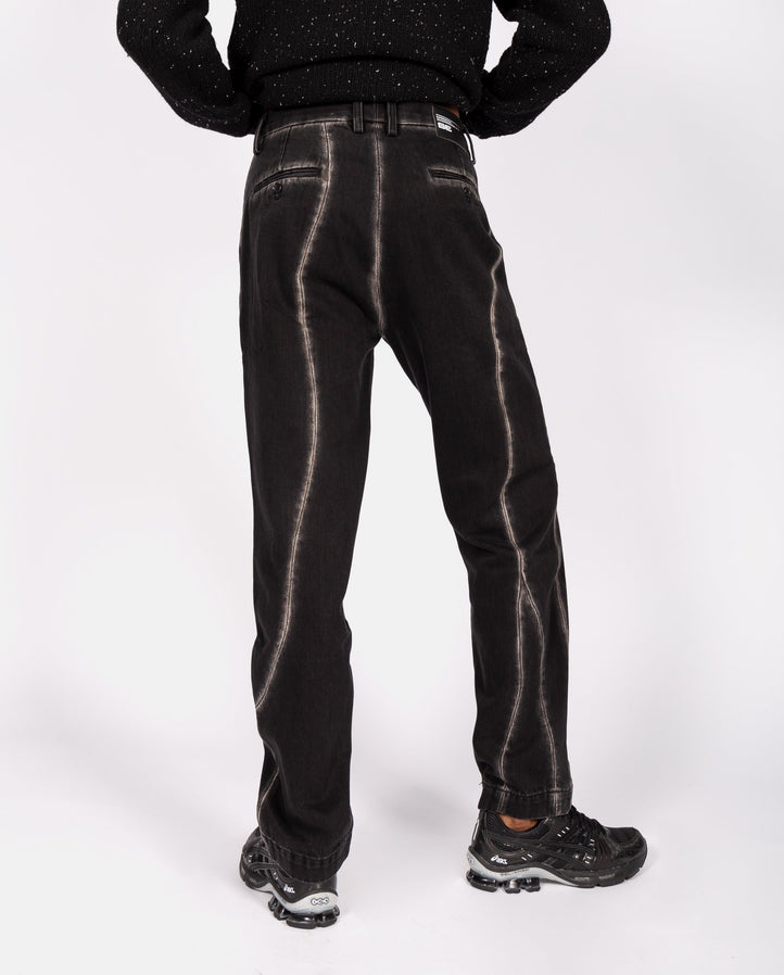 Straight Cut Jeans with Curve Lines - Black UNISEX XANDER ZHOU