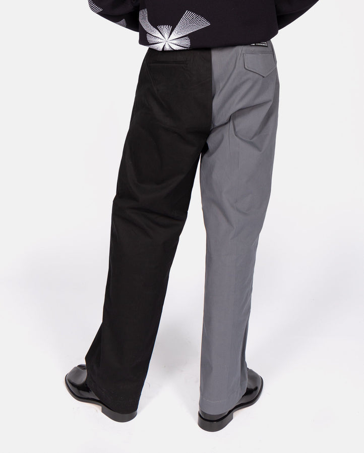 Straight Cut Trousers with Detachable Panel - Grey/Black UNISEX XANDER ZHOU