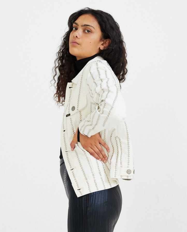Stripe Studded Denim Jacket - White WOMENS STEFAN COOKE