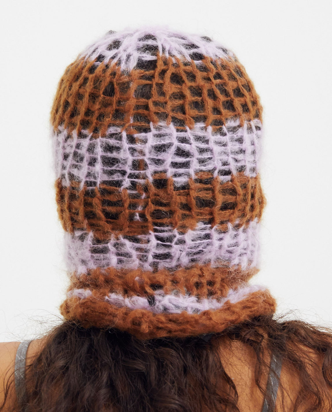 Striped Hand-knitted Balaclava - Rust / Pink UNISEX RAF SIMONS