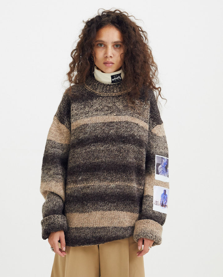 Striped Roundneck Sweater with Polaroid - Brown / Cream UNISEX RAF SIMONS