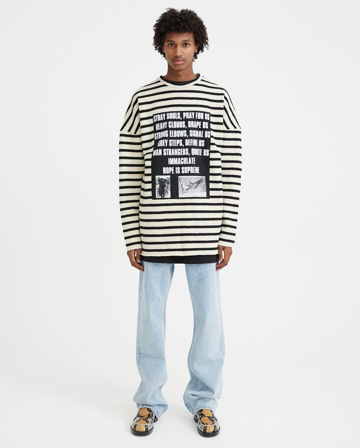Striped Sweater With Patches - Off White / Black MENS RAF SIMONS
