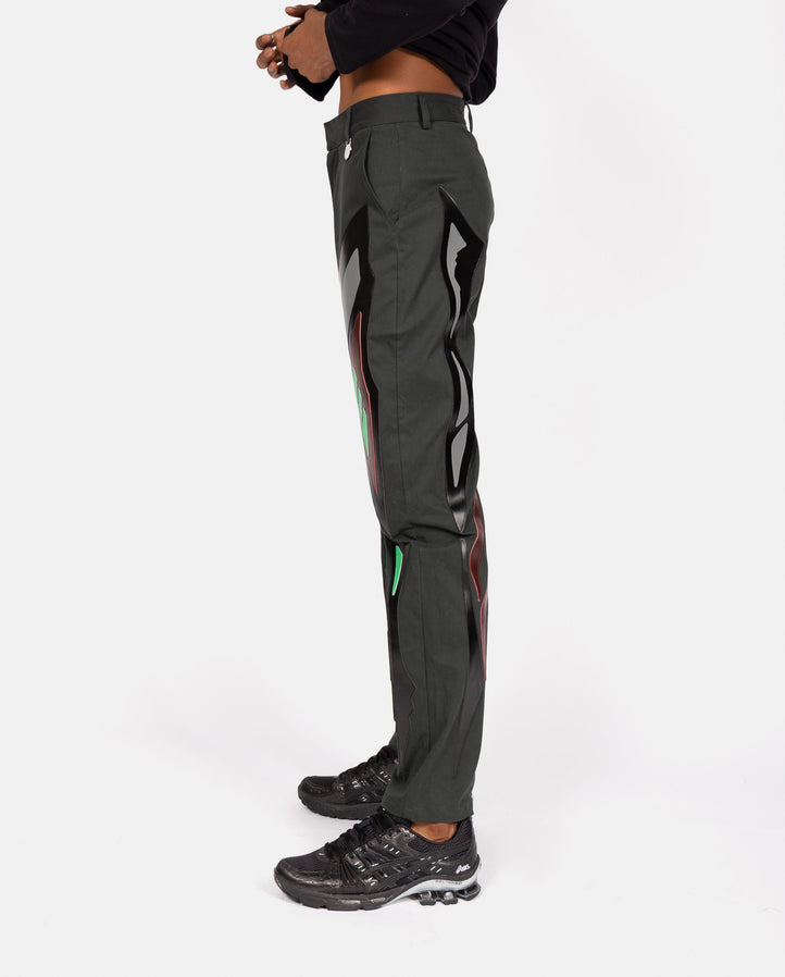 Symmetrical Patterns Applique Trousers - Dark Green UNISEX XANDER ZHOU