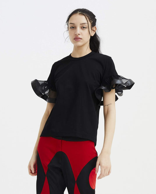 T-Shirt with Ruched Sleeves - Black WOMENS NOIR KEI NINOMIYA