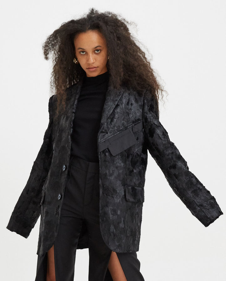 Tailored Jacket in Wet Look Faux - Black UNISEX NICOMEDE