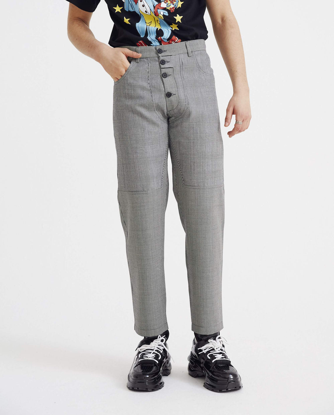 Tailored Two-In-One Trouser - Grey Check MENS DELADA