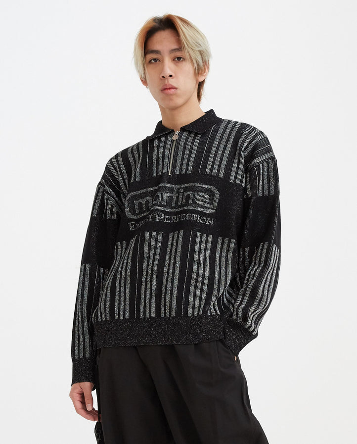 Three-Quarter Zip Polo Knit Sweater - Black MENS MARTINE ROSE