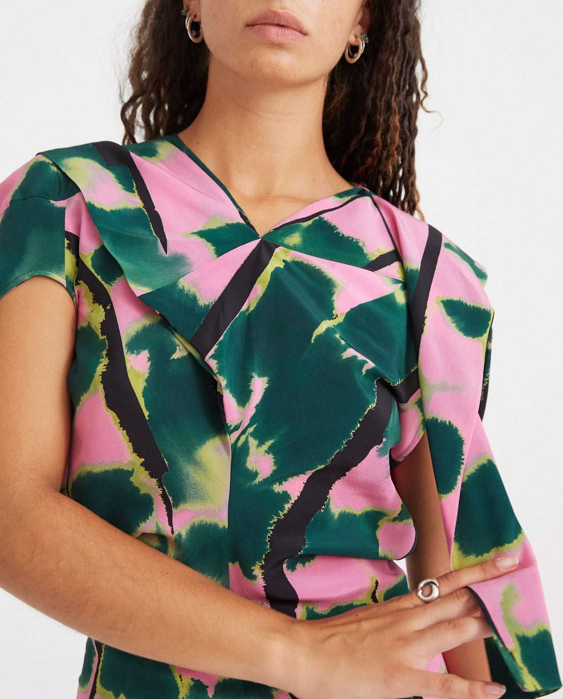 Tiger Tail Soufle Scarf Dress - Green / Pink WOMENS COLVILLE