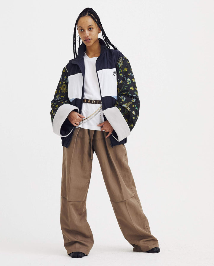 Track Jacket with Jacquard Sleeves - Navy WOMENS MARTINE ROSE