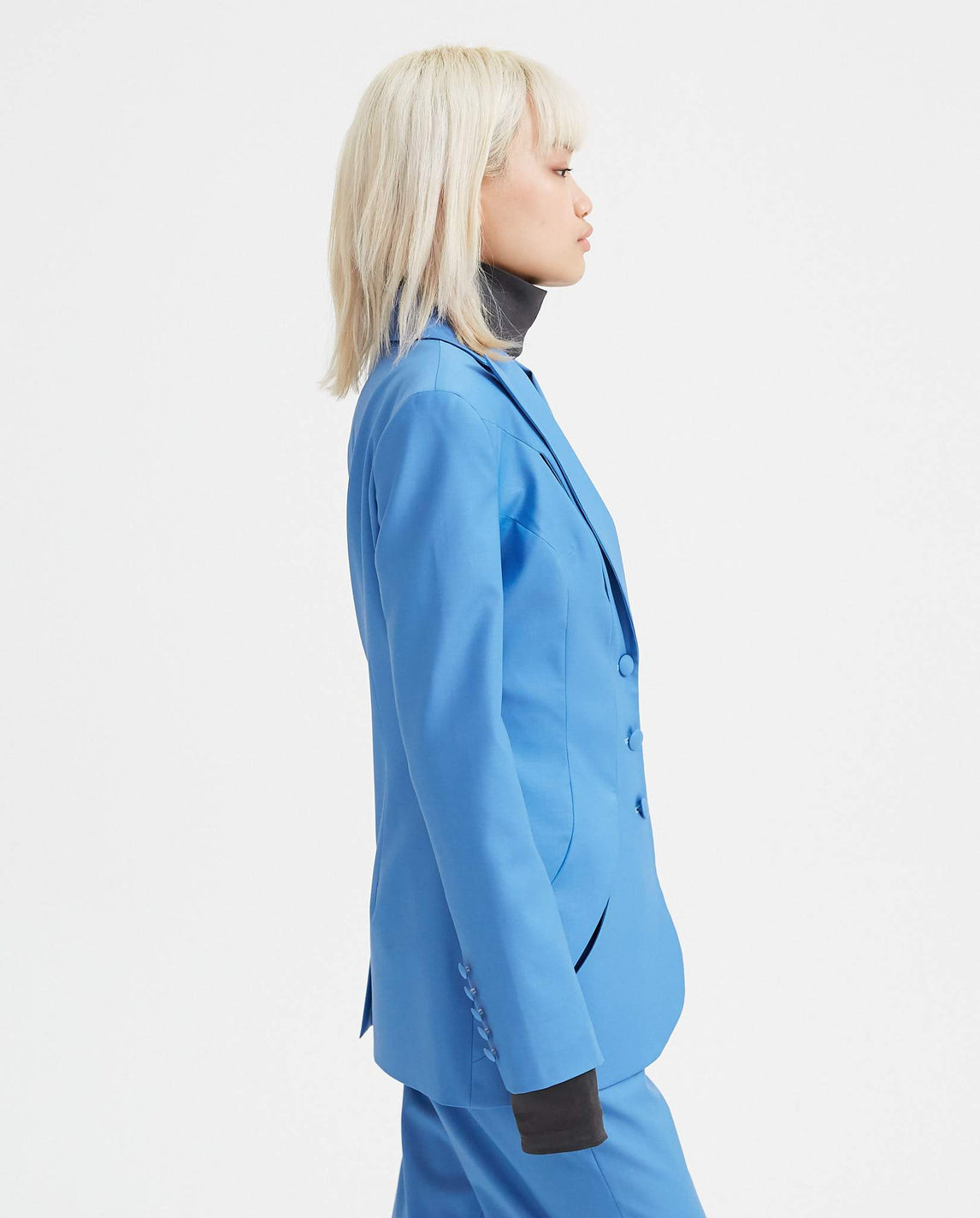 Tropical Wool Panel Blazer - Royal Blue WOMENS MATERIEL
