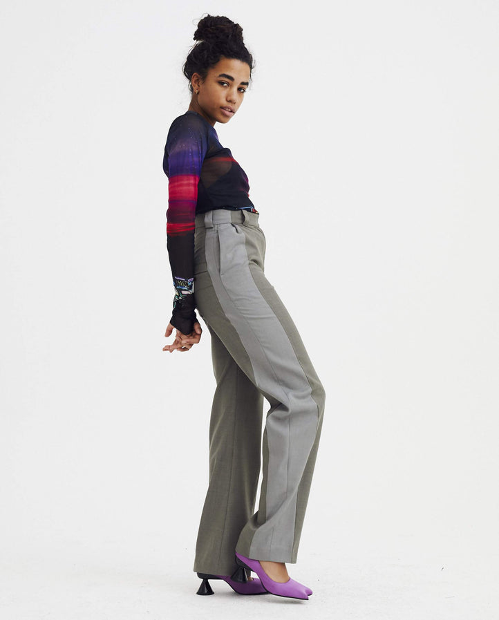 Two-Tone Crease Trouser - Grey WOMENS EFTYCHIA