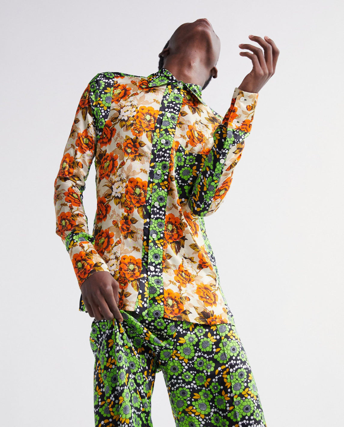 Viscose Print Collared Shirt - Orange / Green MENS KWAIDAN EDITIONS