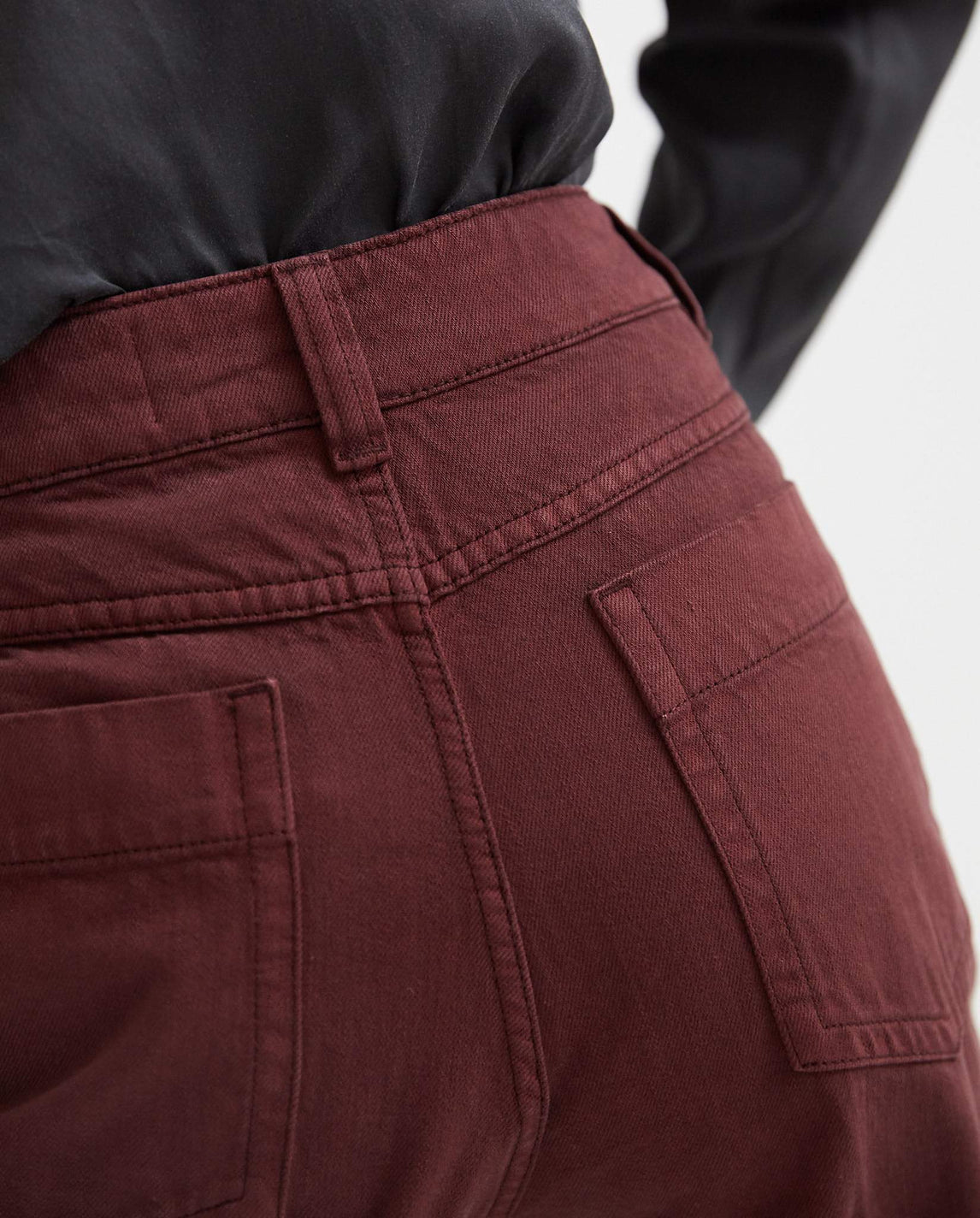 Wide Leg Denim Pants - Wine Red WOMENS LEMAIRE