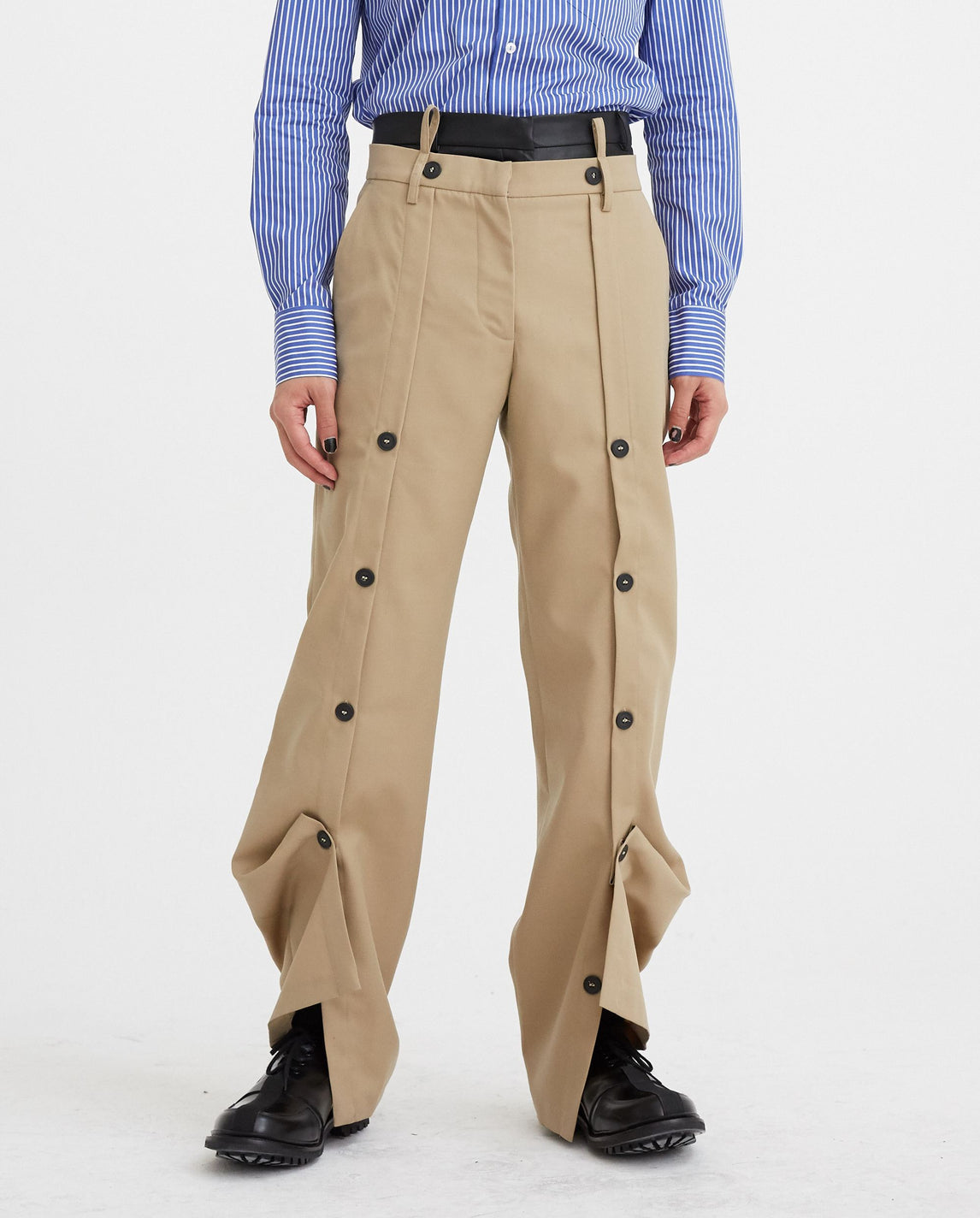 Wide Leg Trousers with Buttons - Beige UNISEX DELADA
