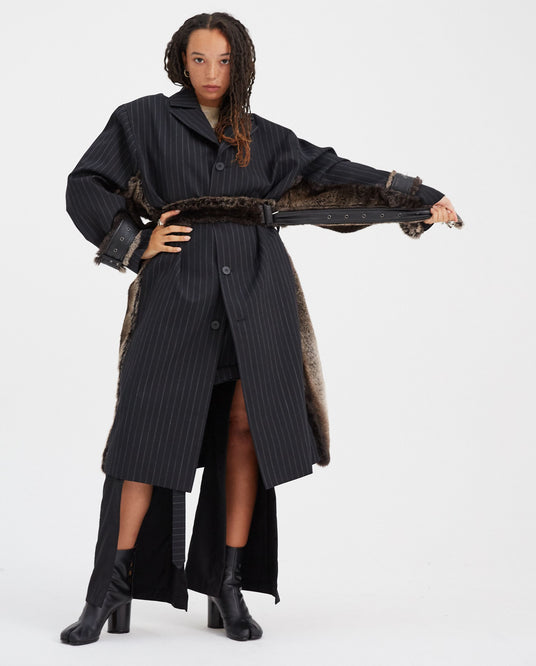Wool Coat with Fur on the Sides - Black Pinstripe UNISEX DELADA