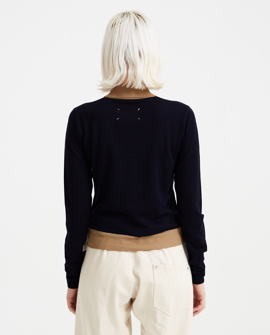 Wool Polo Shirt - Navy WOMENS MAISON MARGIELA