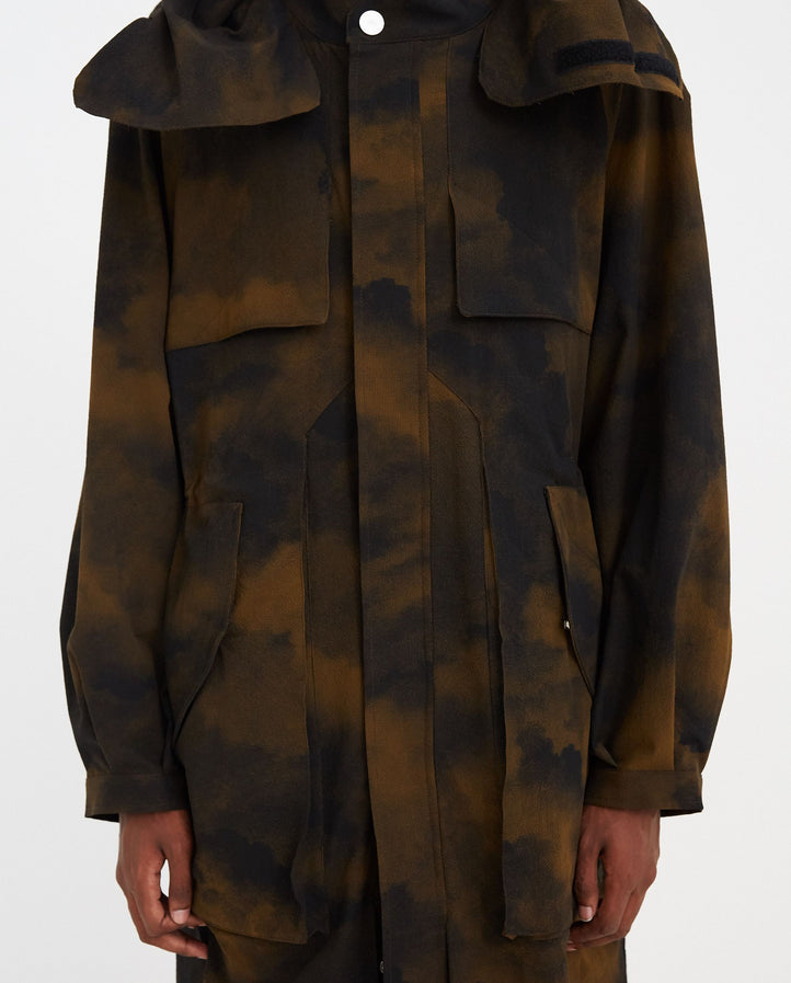 Woven Terrain Print Parka - Brown MENS A-COLD-WALL*