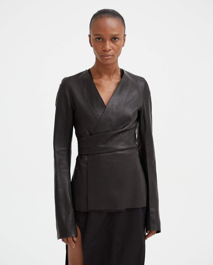 Wraparound Leather Jacket - Black WOMENS RICK OWENS