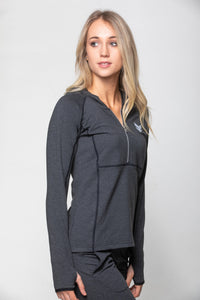 Fitted 1/2 zip hoodie - Charcoal