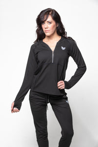 Fitted 1/2 zip hoodie - Black