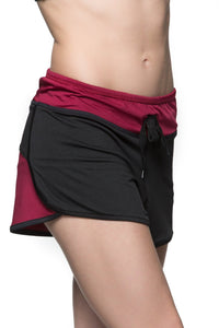 Two tone shorts - Maroon and Black