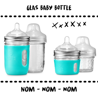 BOTTLE - BABY - GLAS + SILICONE - Damn Plastic