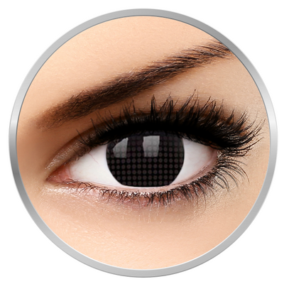 MaxVue Vision Crazy Black Screen - Black Colored Contact Lenses yearly - 360 wears (2 lenses/box)