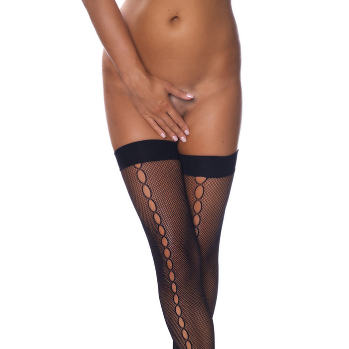 Black Fishnet Stockings With Oval Seem