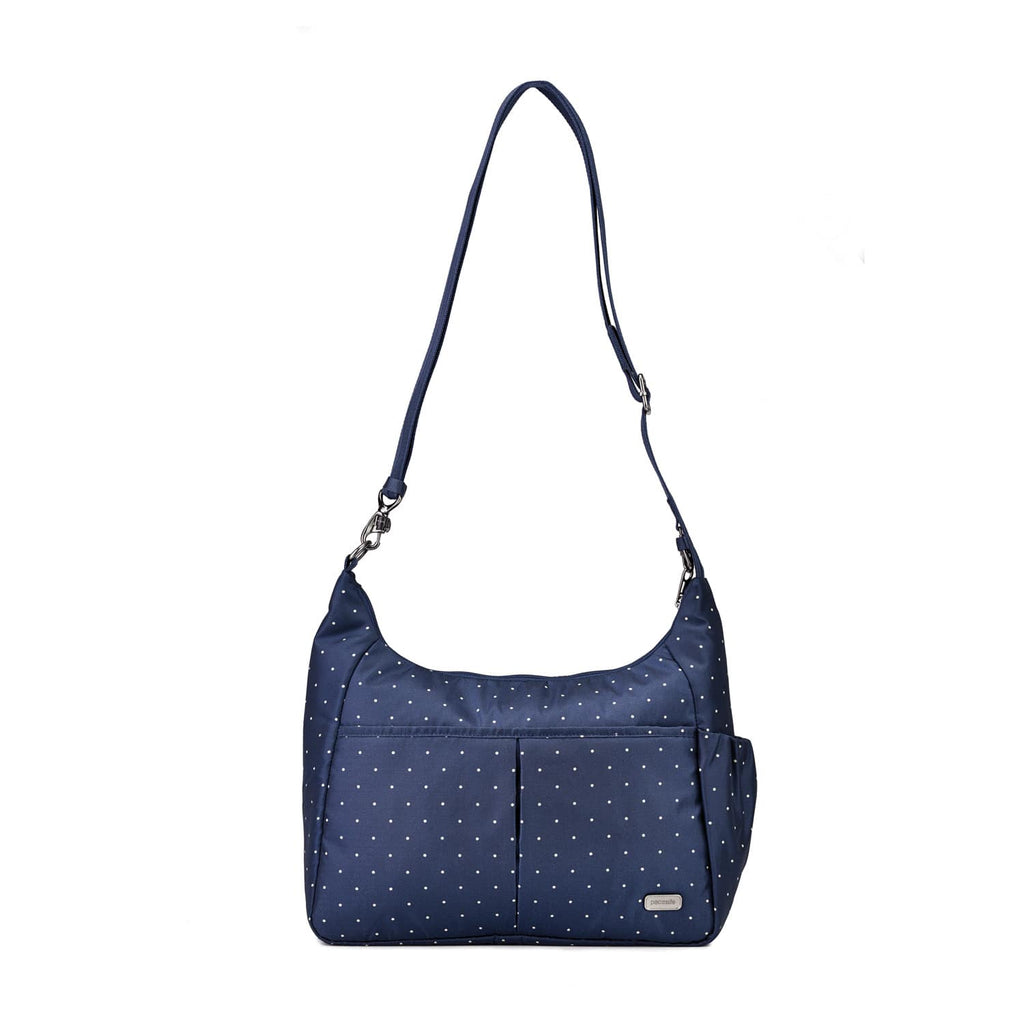 Daysafe Anti-Theft Crossbody Bag, Navy Polka Dot