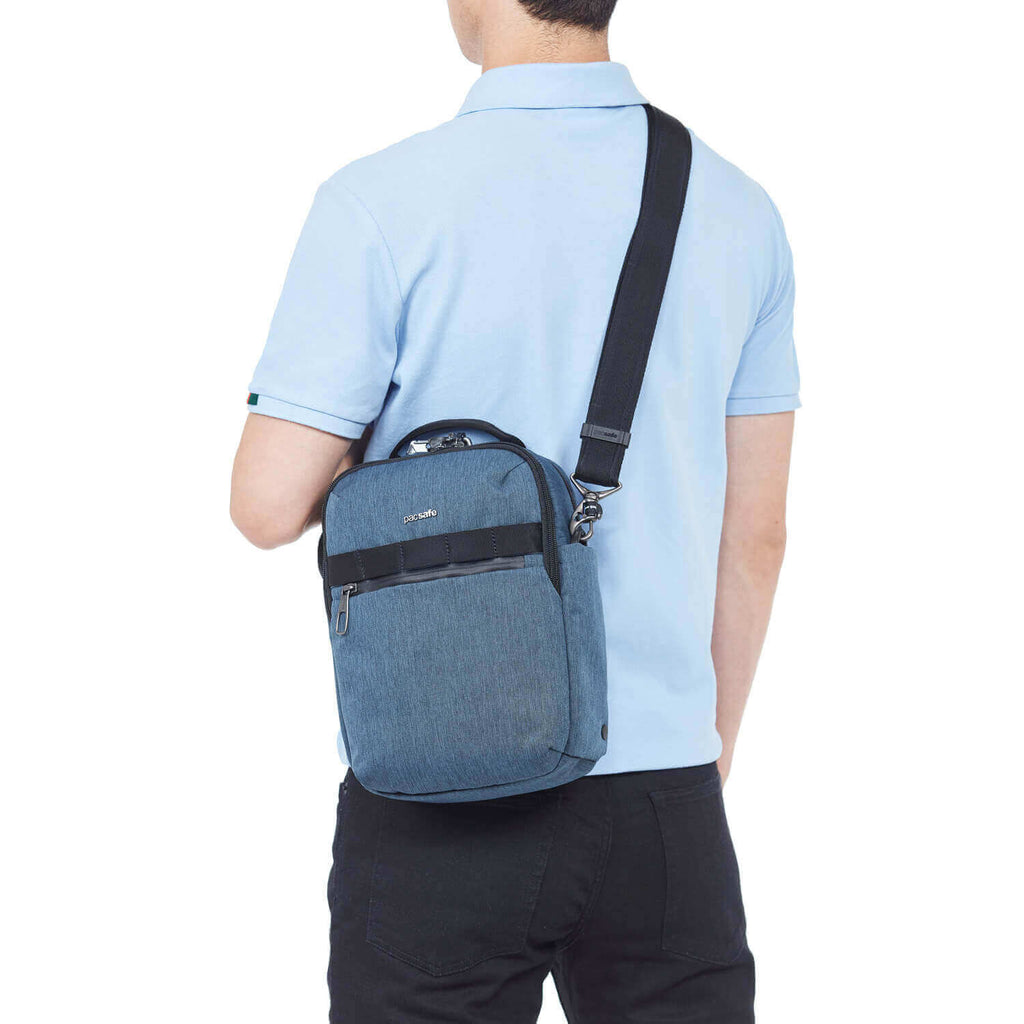 Metrosafe X Anti-Theft Vertical Crossbody Dark Denim
