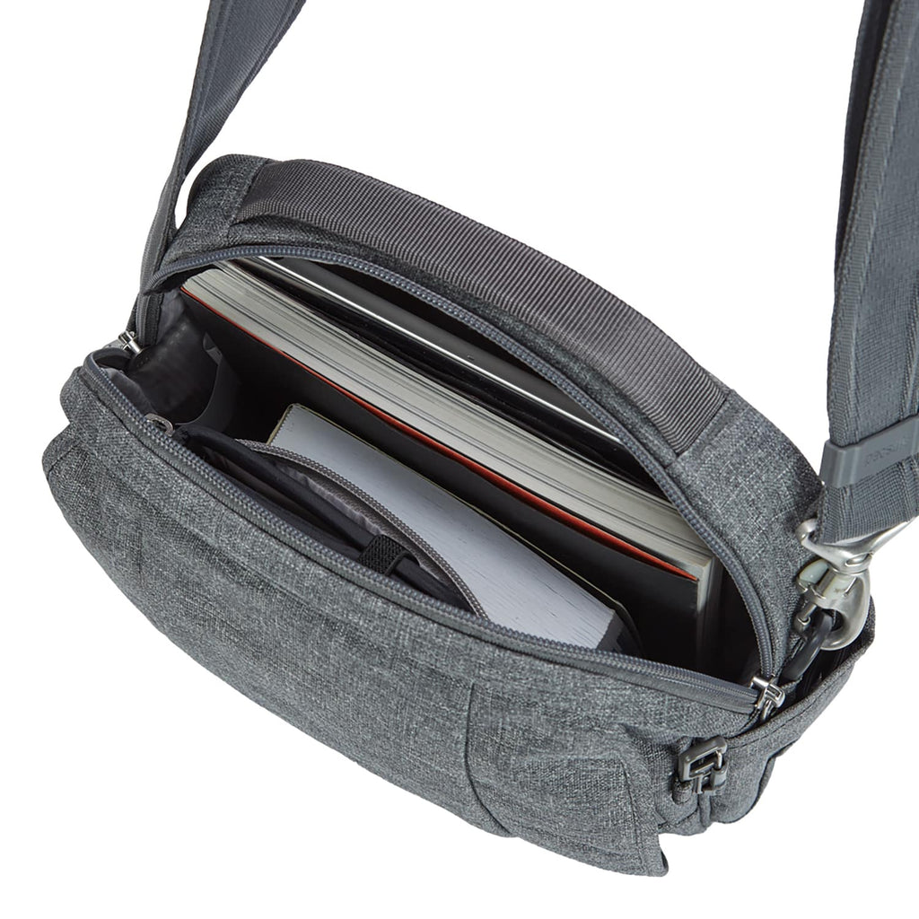 Metrosafe LS200 Anti-Theft Medium Crossbody Bag, Dark Tweed