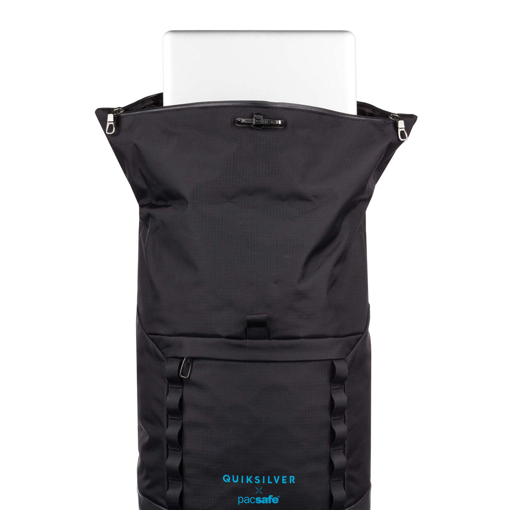 Quiksilver X Pacsafe Dry Lite Rolltop Backpack, Black