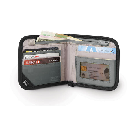 RFIDsafe V100 RFID Blocking Bifold Wallet, Granite Melange Gray