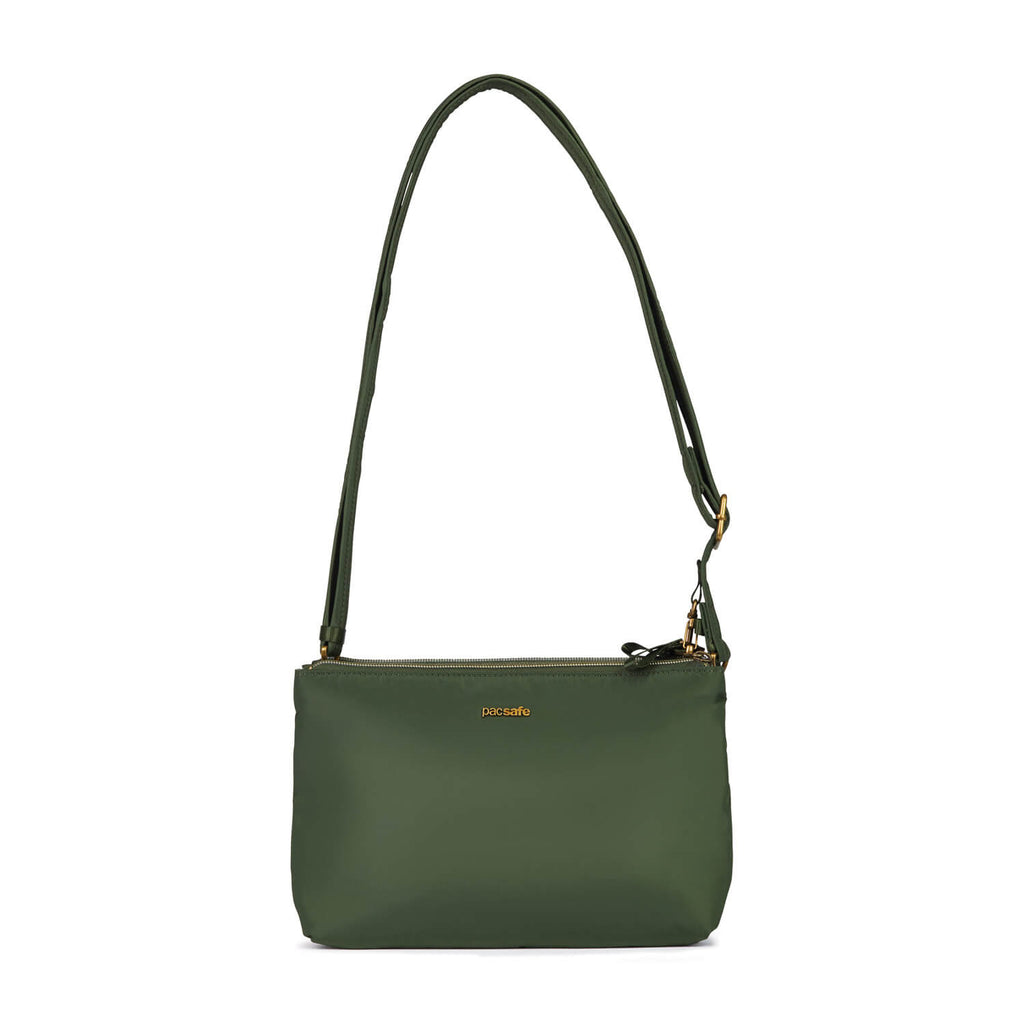 Stylesafe Anti-Theft Double Zip Crossbody Bag, Kombu Green