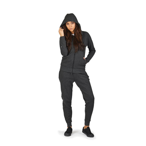 Transit RFID Women's Multi Pocket Travel Hoodie, Heather Charcoal