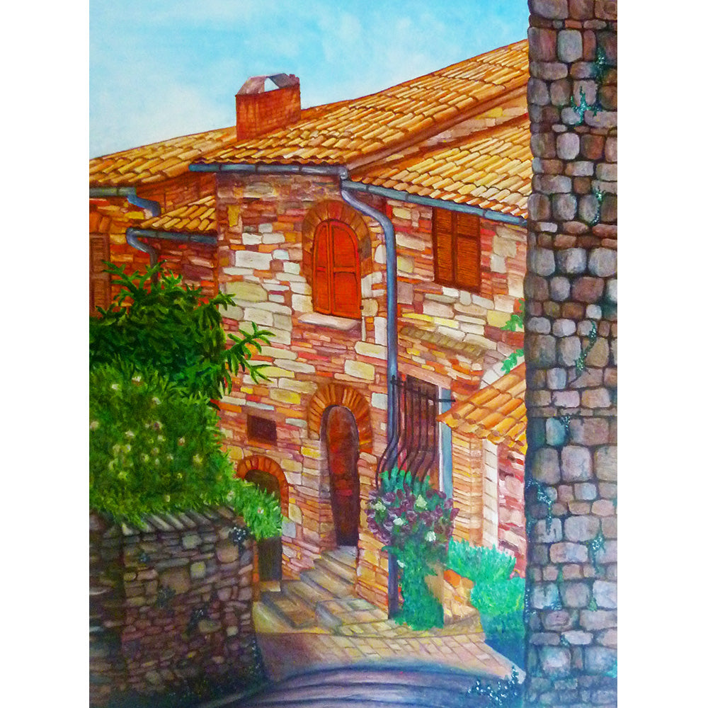 Assisi Street Italy, old Italian Street in sun, Fine art print, original painting by Beata Dagiel