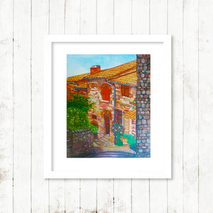 Assisi Street Italy, old Italian Street in sun, Fine art print framed, original painting by Beata Dagiel