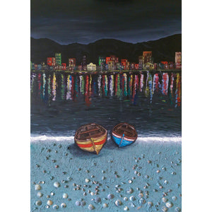 Boats Escape, Fine Art Print from an Original Painting by Beata Dagiel
