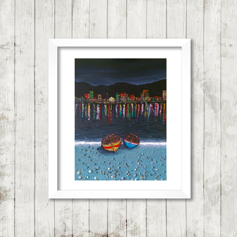 Boats Escape, Framed Fine Art Print from an Original Painting by Beata Dagiel