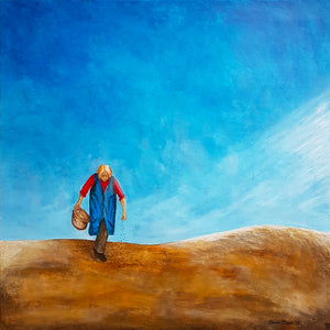 Circle Of Life Painting, Old Woman Working on a Field, Print on Paper or Canvas